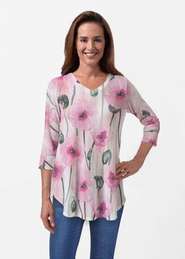 Pink Poppies (16157) ~ Butterknit V-neck Flowy Tunic