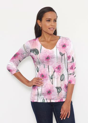 Pink Poppies (16157) ~ Signature 3/4 V-Neck Shirt