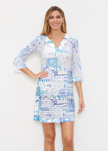 Ferris Wheel Blue (16186) ~ Banded 3/4 Sleeve Cover-up Dress
