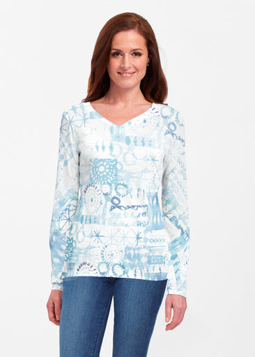 Ferris Wheel Blue (16186) ~ Classic V-neck Long Sleeve Top