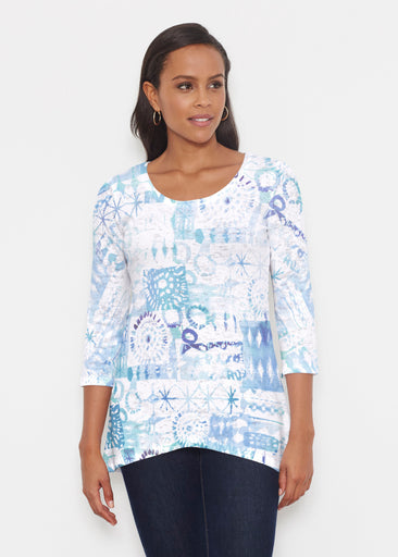 Ferris Wheel Blue (16186) ~ Katherine Hi-Lo Thermal Tunic