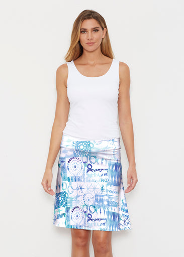 Ferris Wheel Blue (16186) ~ Silky Brenda Skirt 21 inch
