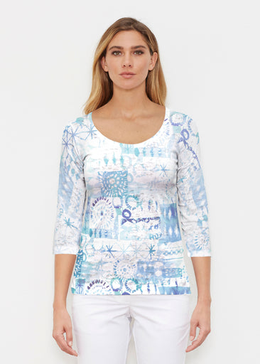 Ferris Wheel Blue (16186) ~ Signature 3/4 Sleeve Scoop Shirt