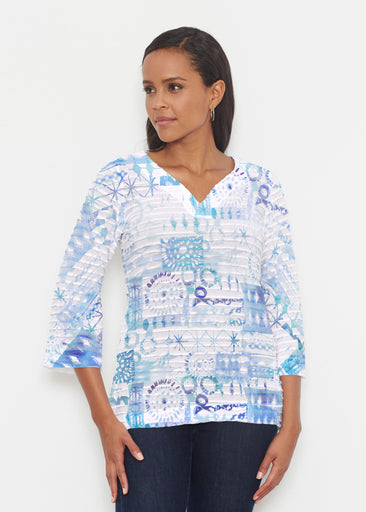 Ferris Wheel Blue (16186) ~ Banded 3/4 Bell-Sleeve V-Neck Tunic