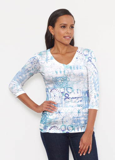 Ferris Wheel Blue (16186) ~ Signature 3/4 V-Neck Shirt