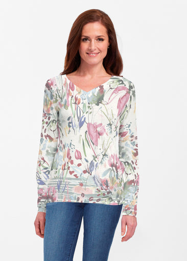 Rhapsody (16191) ~ Classic V-neck Long Sleeve Top