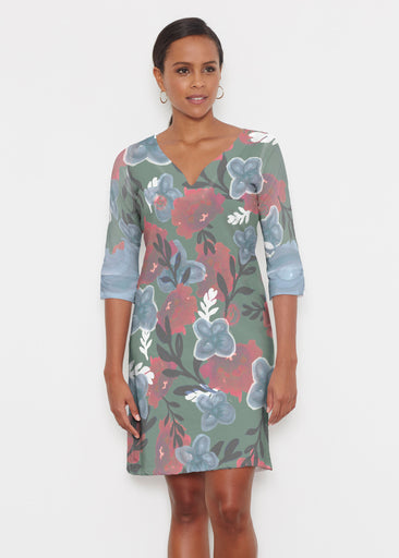 Heirloom Green (17005) ~ Classic 3/4 Sleeve Sweet Heart V-Neck Dress