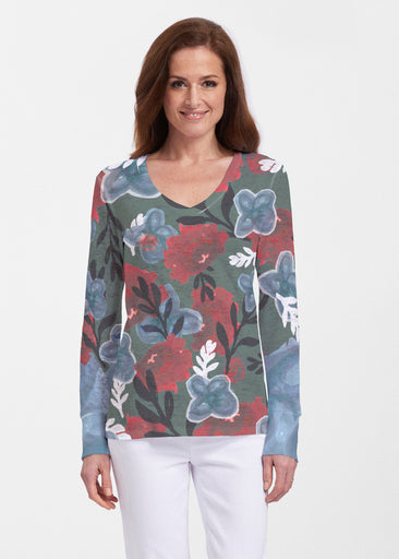 Heirloom Green (17005) ~ Thermal Long Sleeve V-Neck Shirt