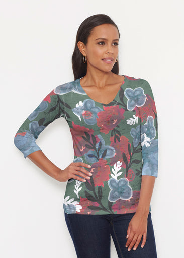 Heirloom Green (17005) ~ Signature 3/4 V-Neck Shirt
