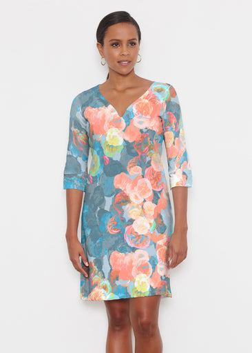 Moonlight Garden (17028) ~ Classic 3/4 Sleeve Sweet Heart V-Neck Dress