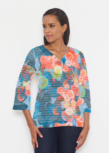 Moonlight Garden (17028) ~ Banded 3/4 Bell-Sleeve V-Neck Tunic