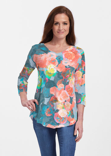 Moonlight Garden (17028) ~ V-neck Flowy Tunic