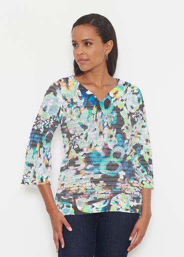 Urban Wild (17047) ~ Banded 3/4 Bell-Sleeve V-Neck Tunic