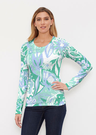 Groovy Petals Green (17068) ~ Thermal Long Sleeve Crew Shirt