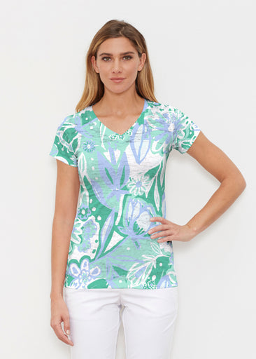 Groovy Petals Green (17068) ~ Signature Cap Sleeve V-Neck Shirt