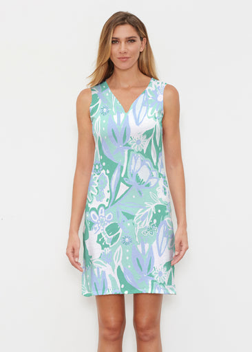 Groovy Petals Green (17068) ~ Classic Sleeveless Dress