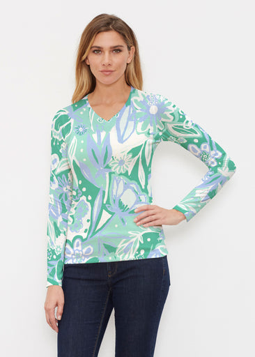 Groovy Petals Green (17068) ~ Butterknit Long Sleeve V-Neck Top