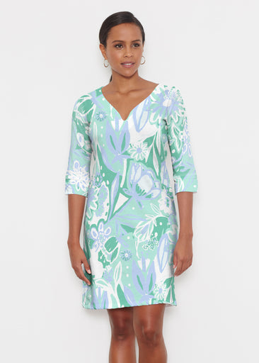 Groovy Petals Green (17068) ~ Classic 3/4 Sleeve Sweet Heart V-Neck Dress