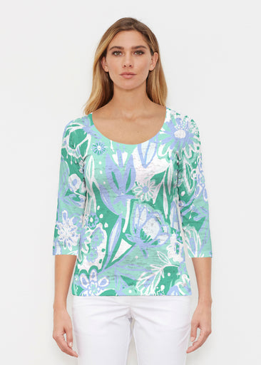 Groovy Petals Green (17068) ~ Signature 3/4 Sleeve Scoop Shirt