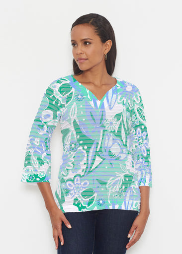 Groovy Petals Green (17068) ~ Banded 3/4 Bell-Sleeve V-Neck Tunic