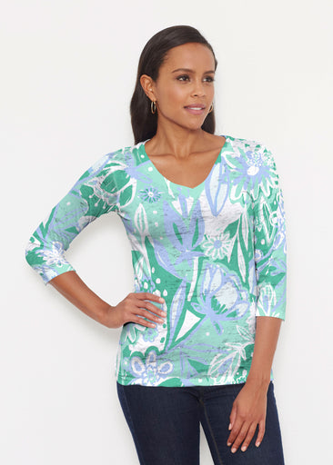 Groovy Petals Green (17068) ~ Signature 3/4 V-Neck Shirt