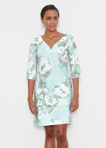 Waterfall Aqua (17074) ~ Classic 3/4 Sleeve Sweet Heart V-Neck Dress