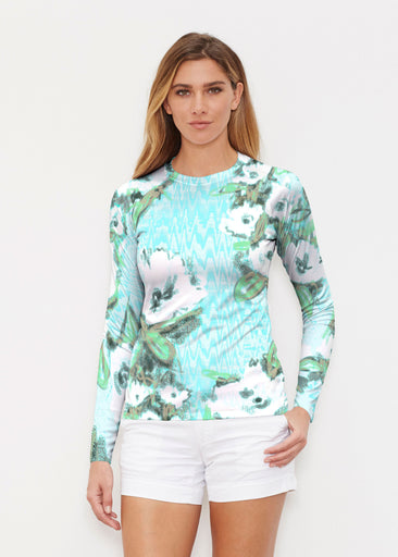 Waterfall Aqua (17074) ~ Long Sleeve Rash Guard