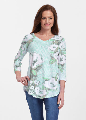 Waterfall Aqua (17074) ~ V-neck Flowy Tunic