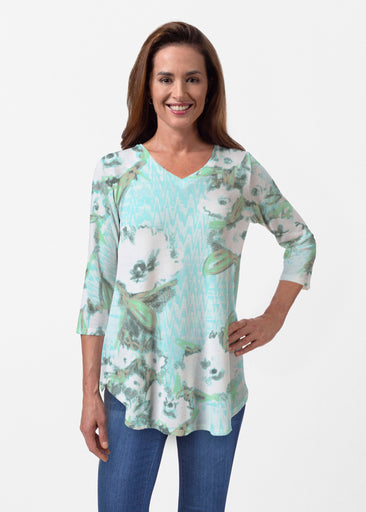 Waterfall Aqua (17074) ~ Butterknit V-neck Flowy Tunic