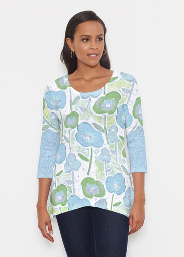 Desert Blooms Blue (17103) ~ Katherine Hi-Lo Thermal Tunic