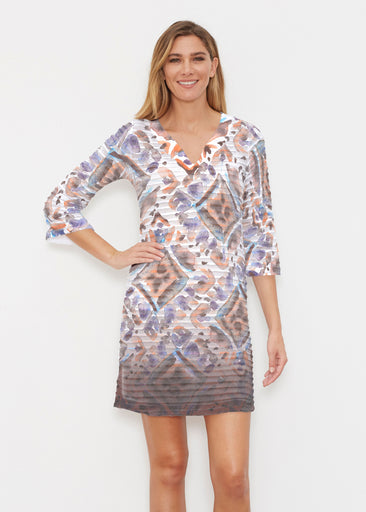Desert Ikat Beige (17105) ~ Banded 3/4 Sleeve Cover-up Dress