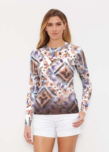 Desert Ikat Beige (17105) ~ Long Sleeve Rash Guard