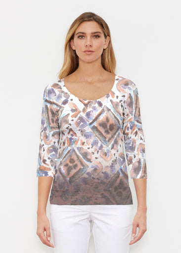 Desert Ikat Beige (17105) ~ Signature 3/4 Sleeve Scoop Shirt