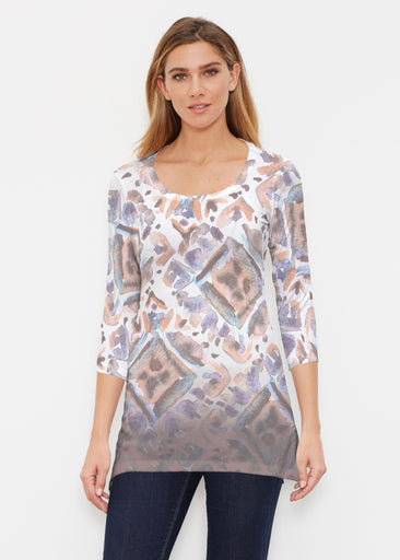 Desert Ikat Beige (17105) ~ Buttersoft 3/4 Sleeve Tunic