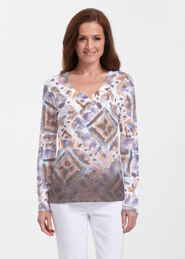 Desert Ikat Beige (17105) ~ Thermal Long Sleeve V-Neck Shirt