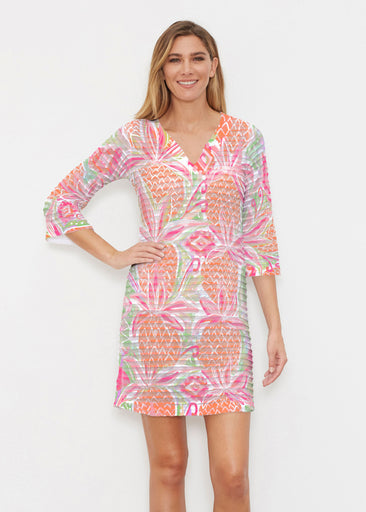 Pineapple Coral (17115) ~ Banded 3/4 Sleeve Cover-up Dress