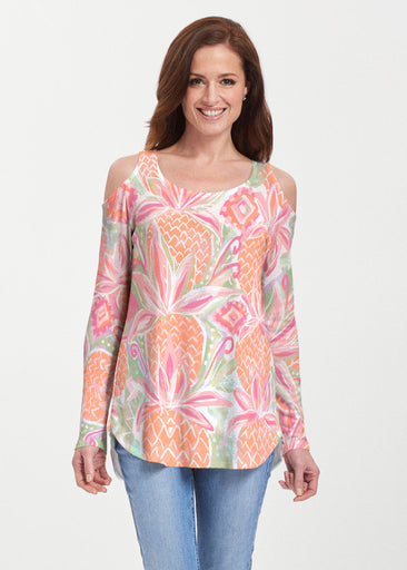 Pineapple Coral (17115) ~ Cold Shoulder Tunic
