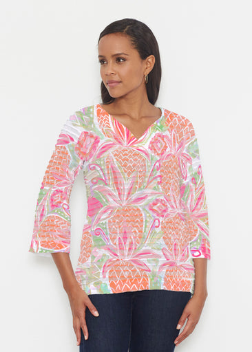 Pineapple Coral (17115) ~ Banded 3/4 Bell-Sleeve V-Neck Tunic