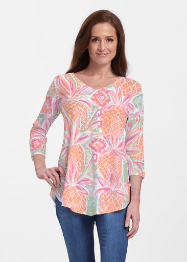 Pineapple Coral (17115) ~ Signature V-neck Flowy Tunic