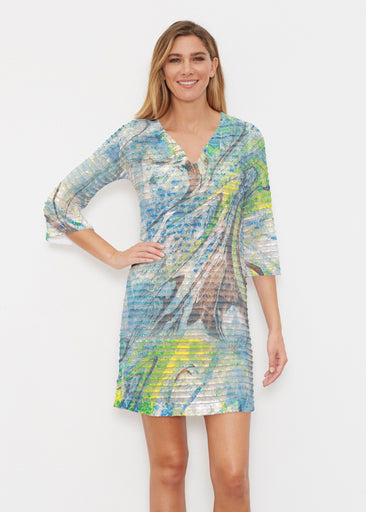 Orbit Teal (17161) ~ Banded 3/4 Sleeve Cover-up Dress