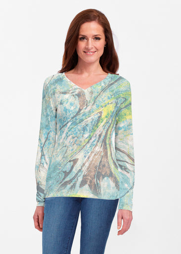 Orbit Teal (17161) ~ Classic V-neck Long Sleeve Top