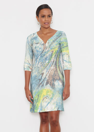 Orbit Teal (17161) ~ Classic 3/4 Sleeve Sweet Heart V-Neck Dress