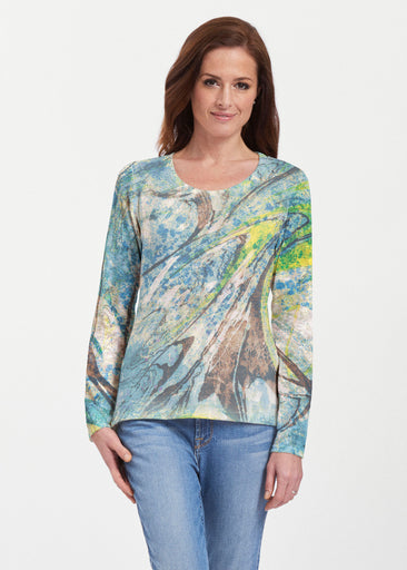 Orbit Teal (17161) ~ Texture Mix Long Sleeve