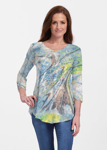 Orbit Teal (17161) ~ Signature V-neck Flowy Tunic