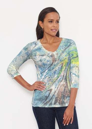 Orbit Teal (17161) ~ Signature 3/4 V-Neck Shirt