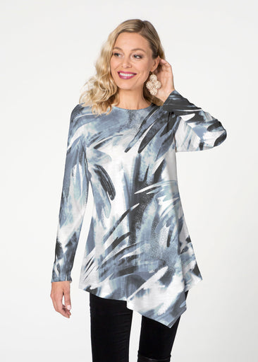 Brush Strokes  (17167) ~ Asymmetrical French Terry Tunic
