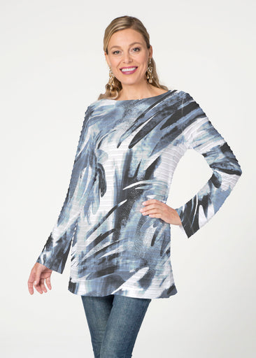 Brush Stokes Black (17167) ~ Banded Boatneck Tunic