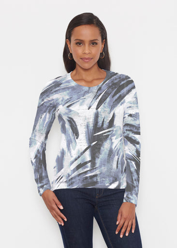 Brush Strokes Black (17167) ~ Signature Long Sleeve Crew Shirt