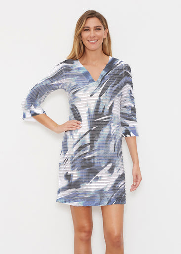 Brush Strokes Black (17167) ~ Banded 3/4 Sleeve Cover-up Dress