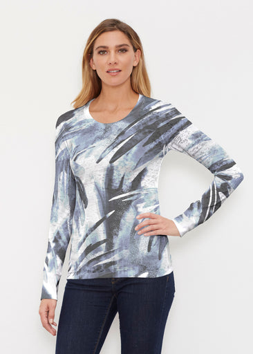 Brush Strokes Black (17167) ~ Thermal Long Sleeve Crew Shirt